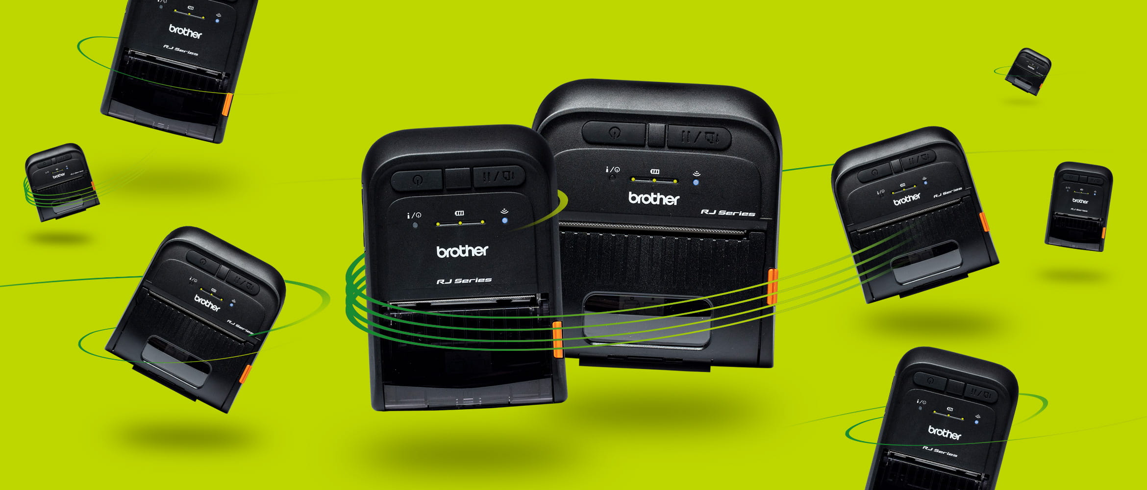 RJ-2 and RJ-3 mobile printers on lime green background
