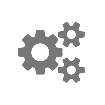 Icon with three grey cogs