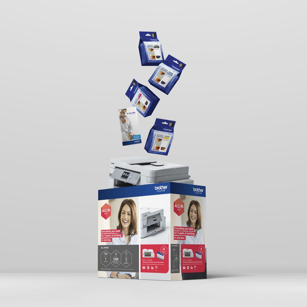 DCP-J1100DW All In Box Bundle. Wireless 3-in-1 Colour Inkjet Printer  8