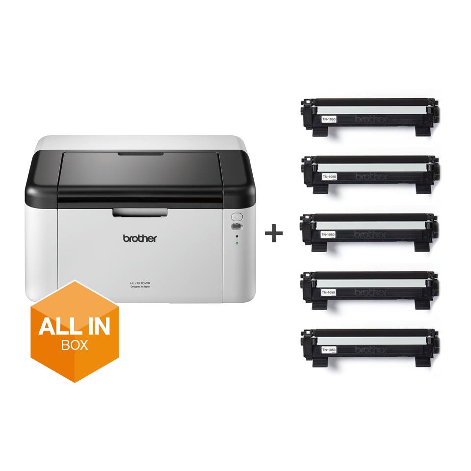 Wireless Mono Laser Printer - HL-1210WVB All in Box Bundle 6