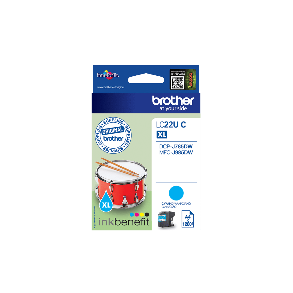Genuine Brother LC22UC Ink Cartridge – Cyan 2