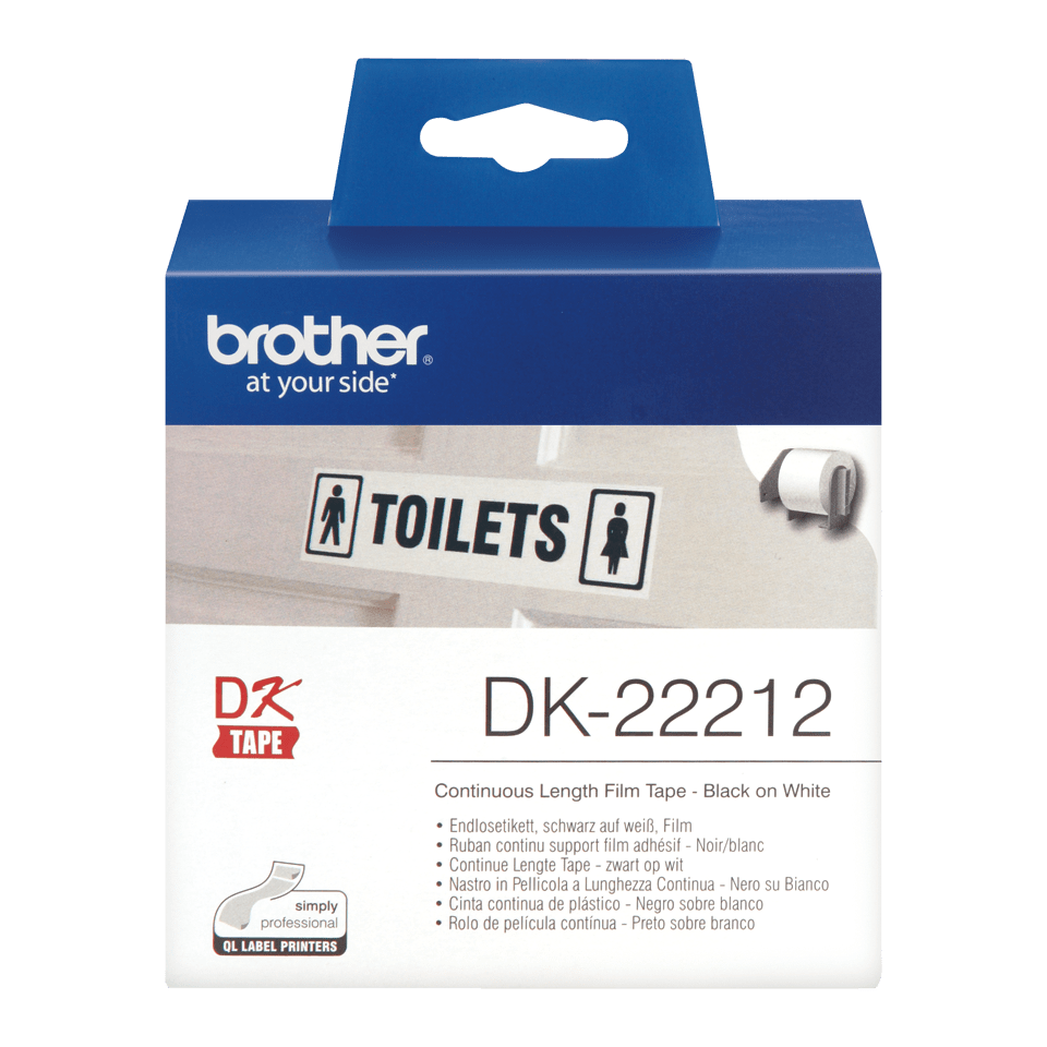 Genuine Brother DK-22212 Continuous Film Label Roll – Black on White, 62mm 0