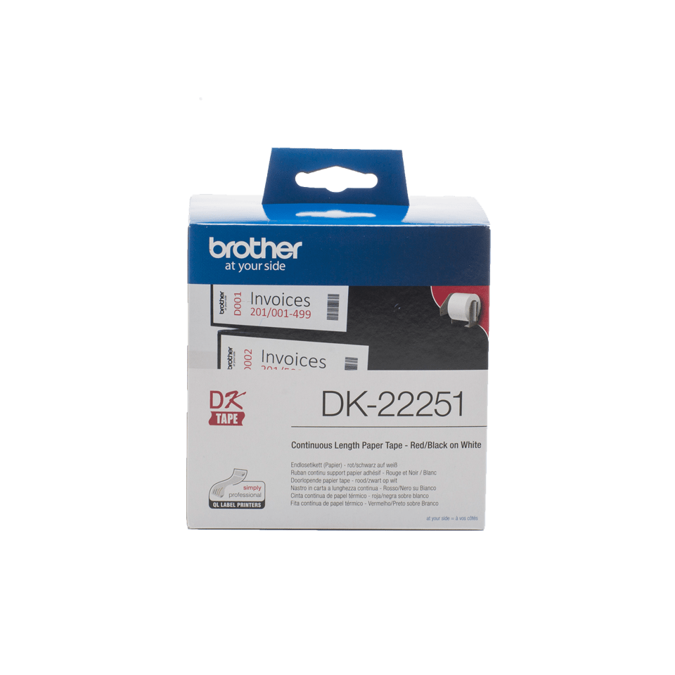 Genuine Brother DK-22251 Continuous Paper Label Roll – Black and Red on White, 62mm 0