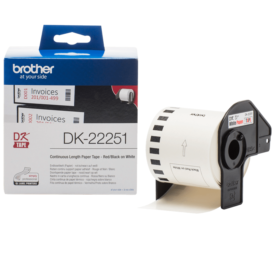 Genuine Brother DK-22251 Continuous Paper Label Roll – Black and Red on White, 62mm 2