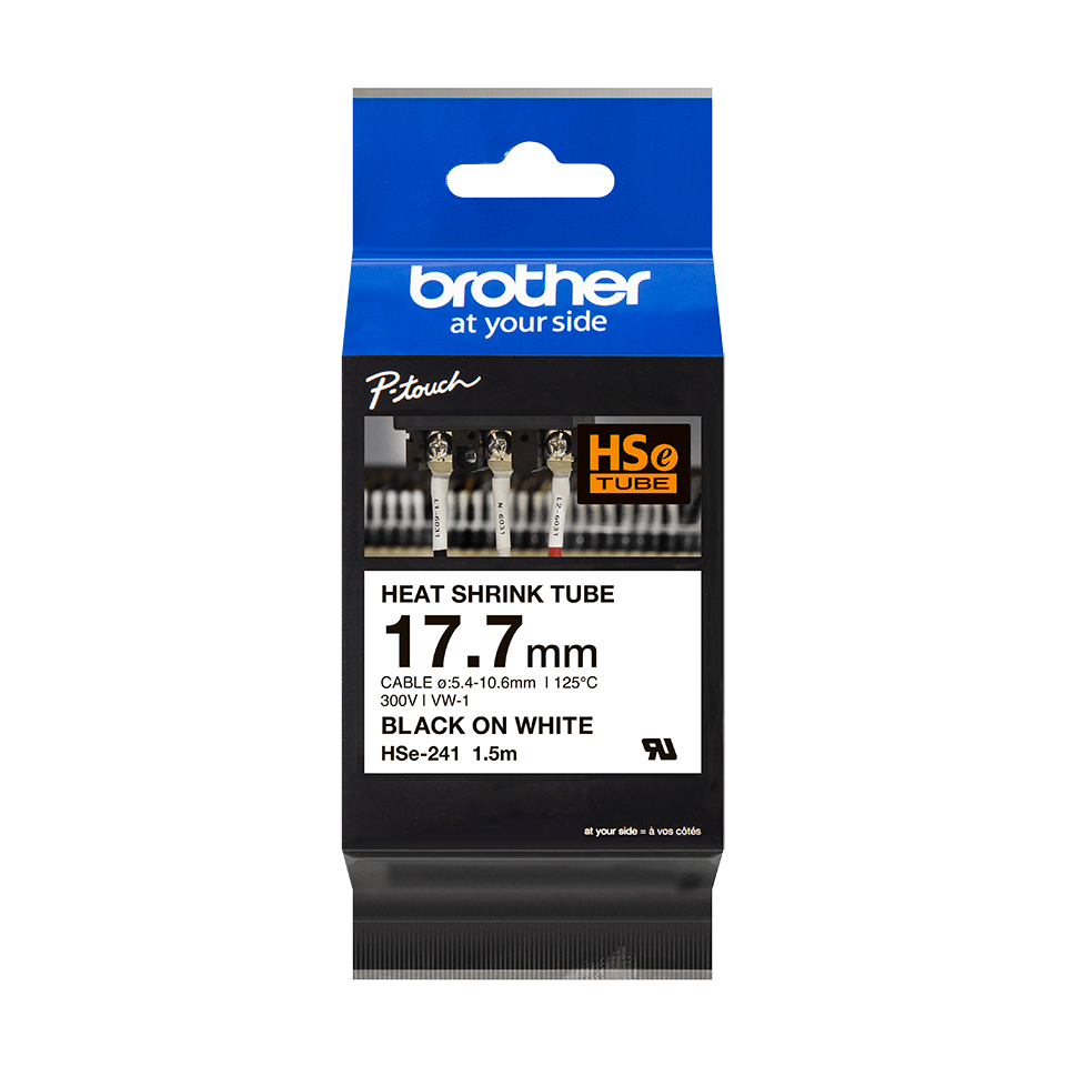 Genuine Brother HSe-241 Heat Shrink Tube Tape Cassette – Black on White, 17.7mm wide 3