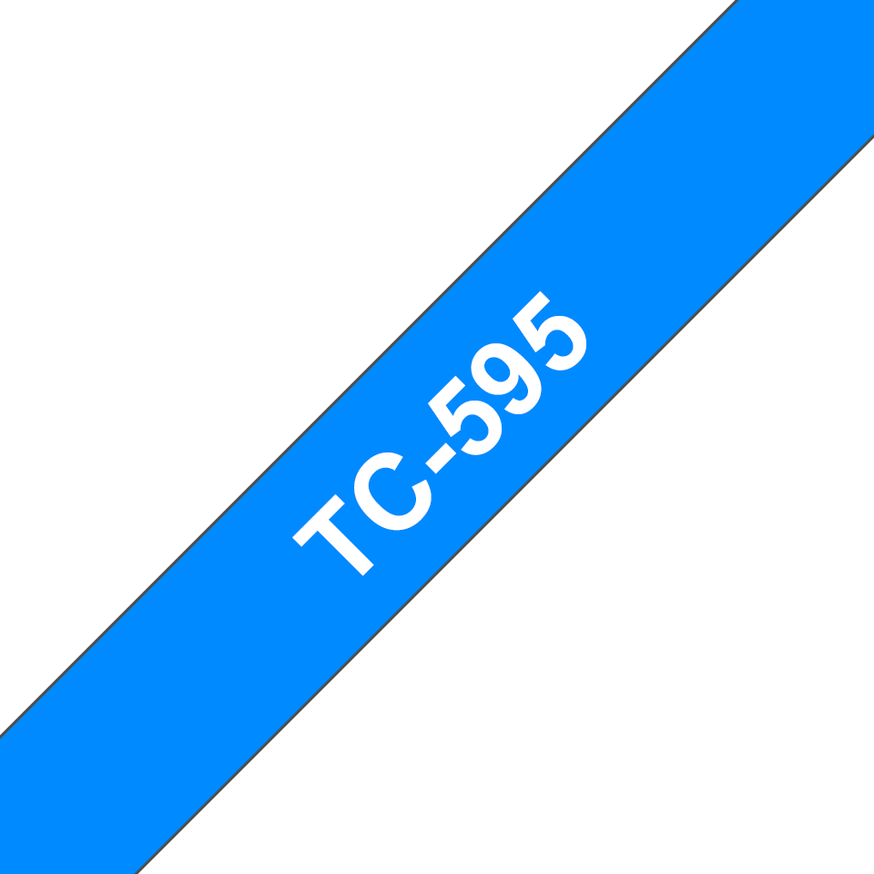 Genuine Brother TC-595 Labelling Tape Cassette – White on Blue, 9mm wide