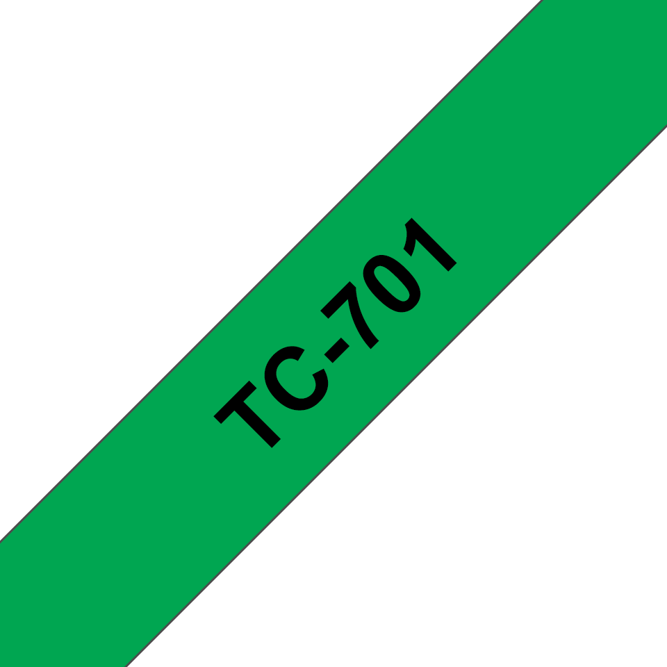 Genuine Brother TC-701 Labelling Tape Cassette – Black on Green, 12mm wide