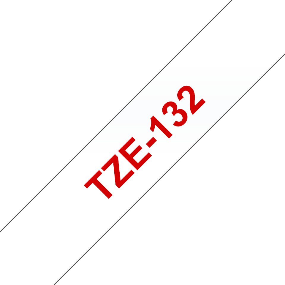 Genuine Brother TZe-132 Labelling Tape Cassette – Red On Clear, 12mm wide