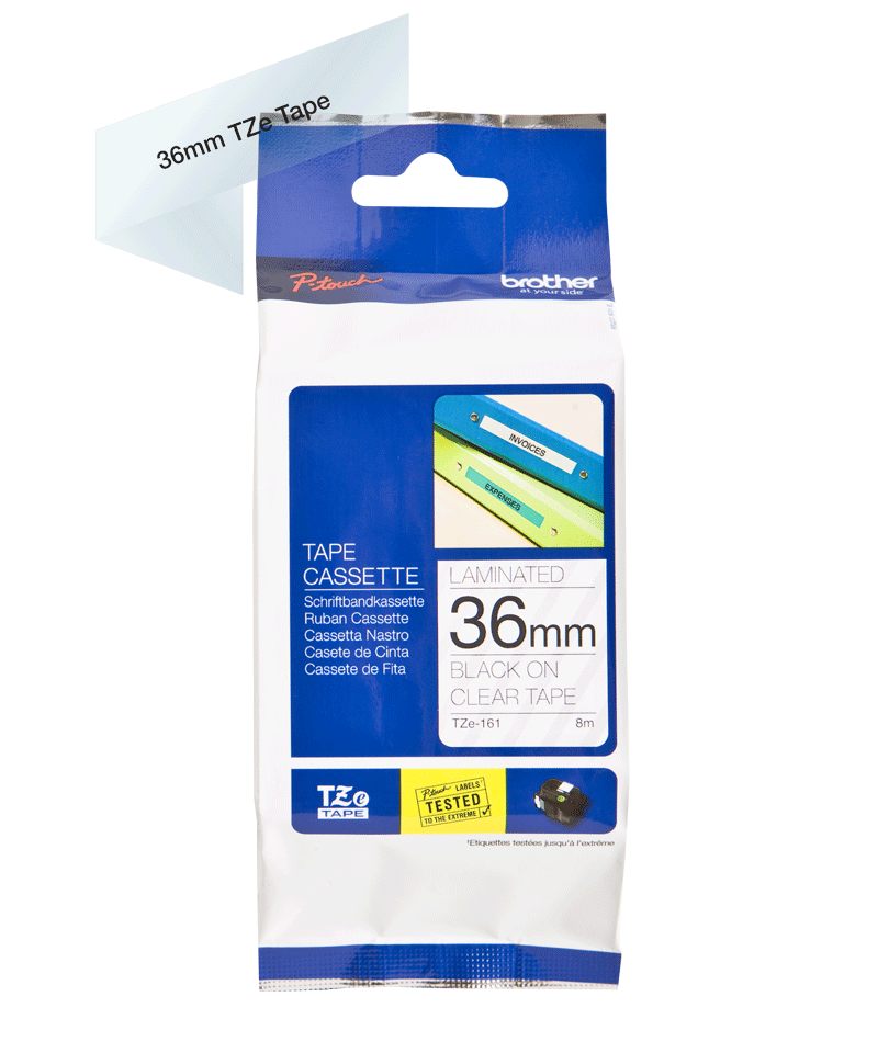 Genuine Brother TZe-161 Labelling Tape Cassette – Black on Clear, 36mm wide 3