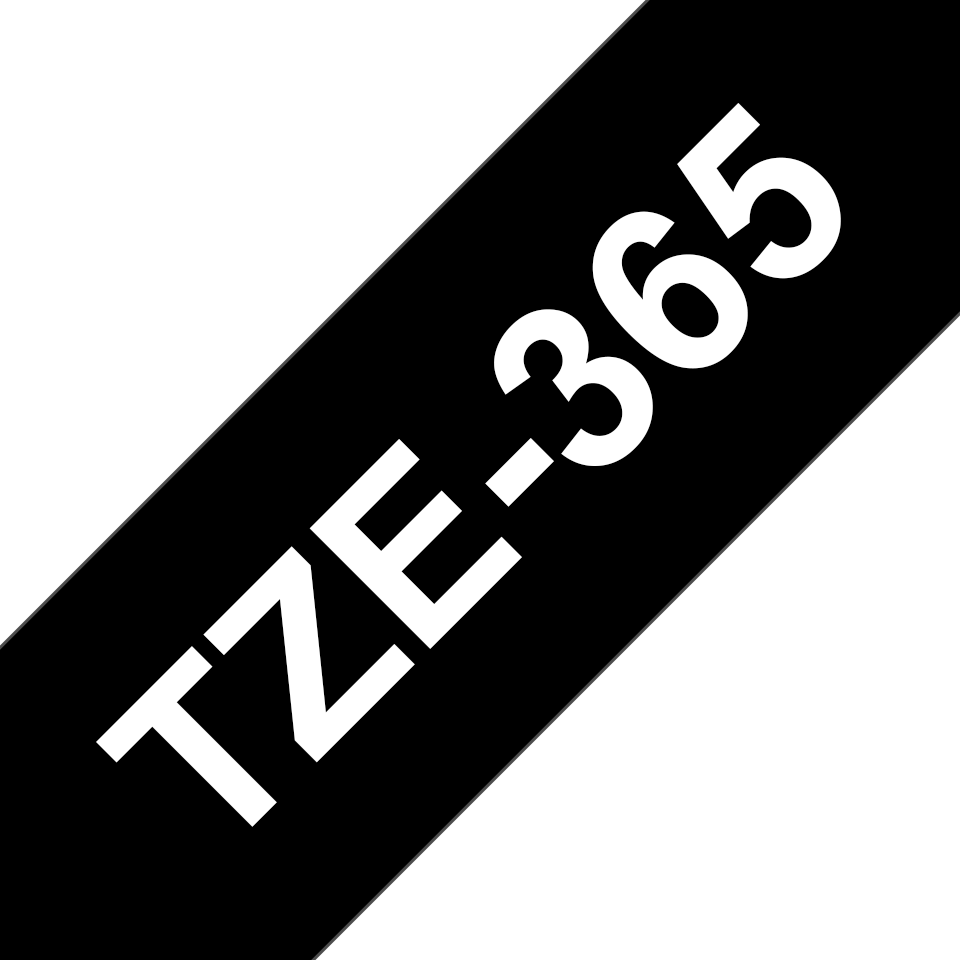 Genuine Brother TZe-365 Labelling Tape Cassette – White On Black, 36mm wide