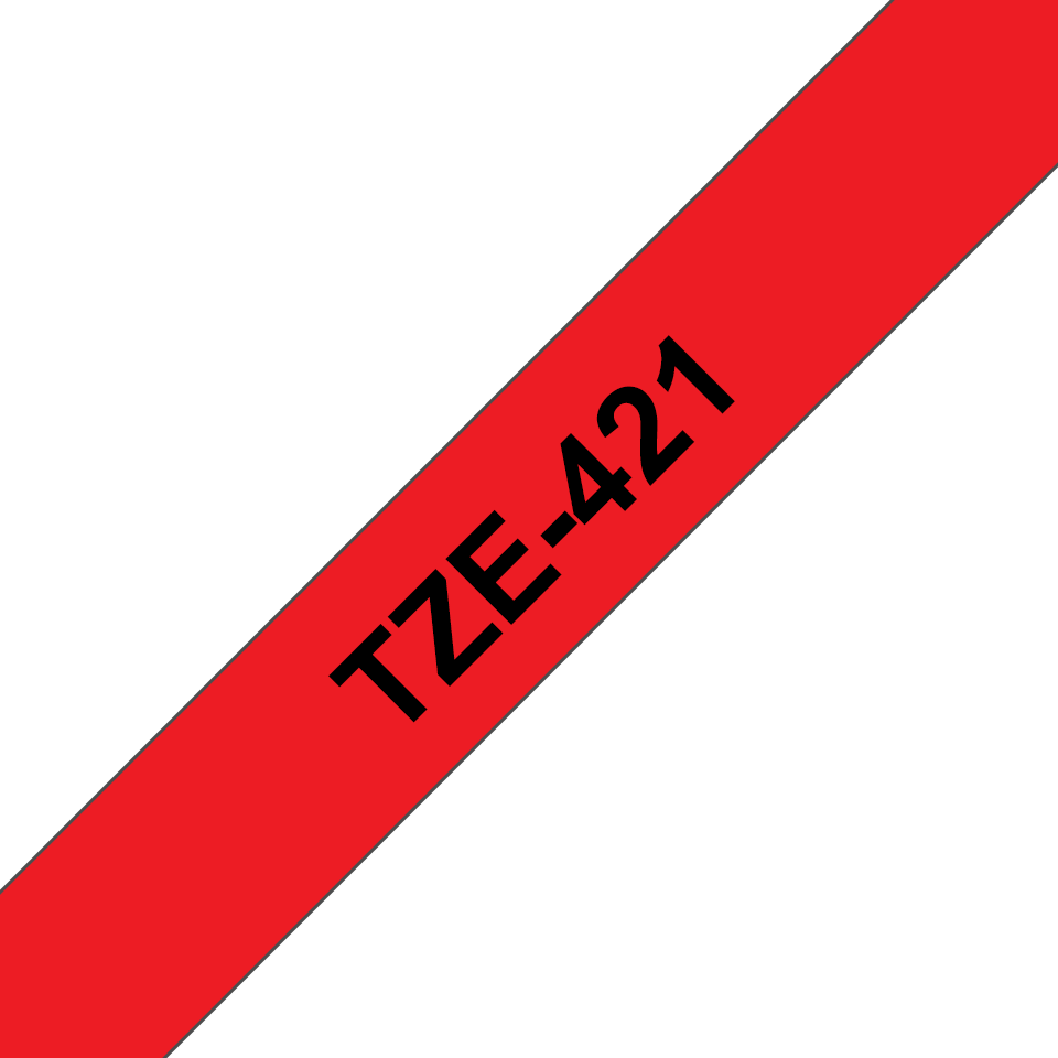 Genuine Brother TZe-421 Labelling Tape Cassette – Black on Red, 9mm wide