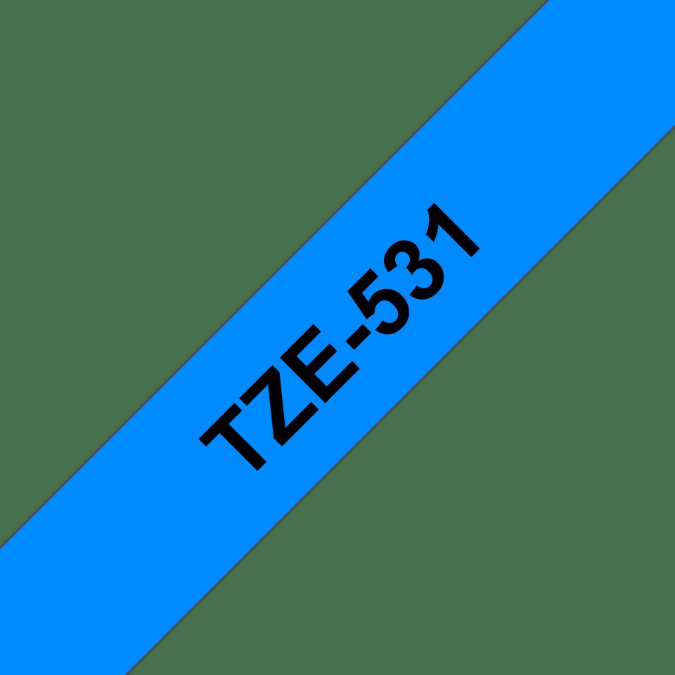 Genuine Brother TZe-531 Labelling Tape Cassette – Black on Blue, 12mm wide