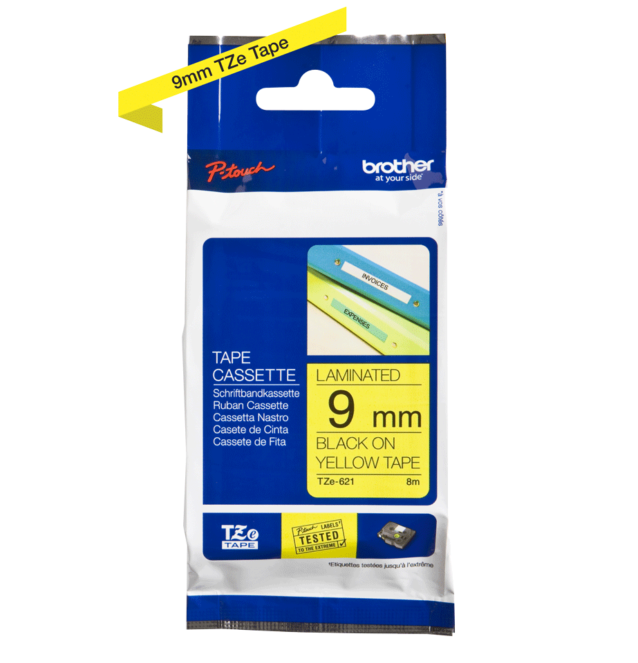 Genuine Brother TZe-621 tape - black on yellow, 9mm wide 3