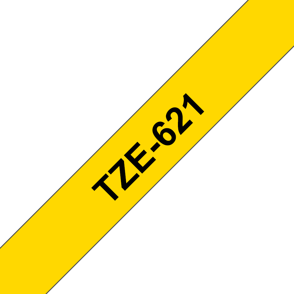 Genuine Brother TZe-621 tape - black on yellow, 9mm wide