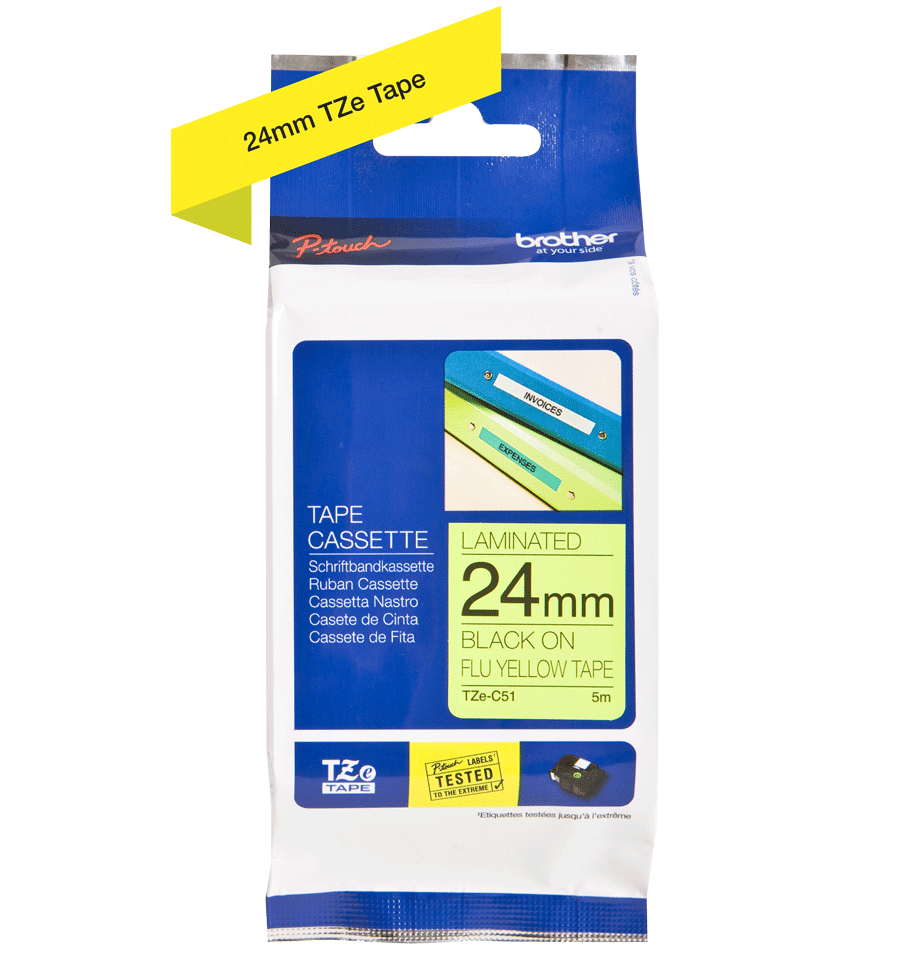 Genuine Brother TZe-C51 Labelling Tape Cassette – Fluorescent Yellow, 24mm wide 3