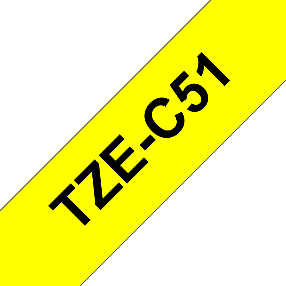 Genuine Brother TZe-C51 Labelling Tape Cassette – Fluorescent Yellow, 24mm wide