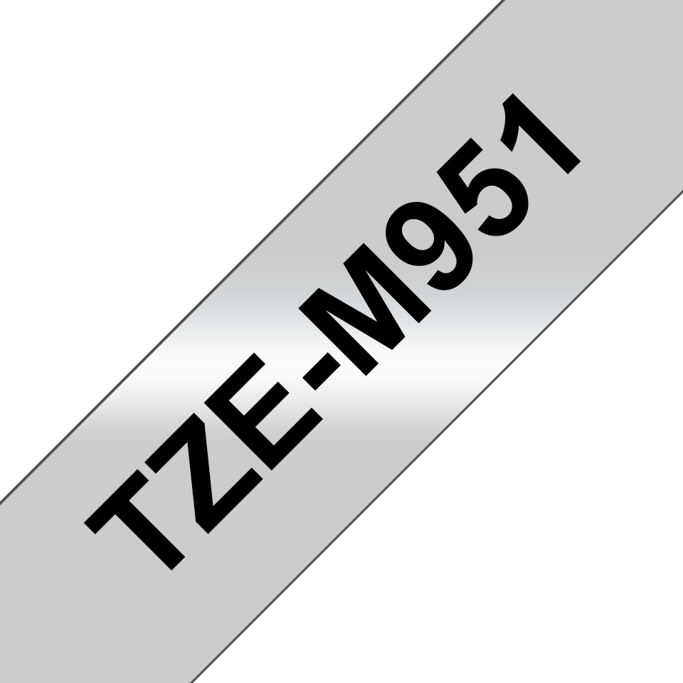 Genuine Brother TZe-M951 Labelling Tape Cassette – Black on Matt Silver, 24mm wide