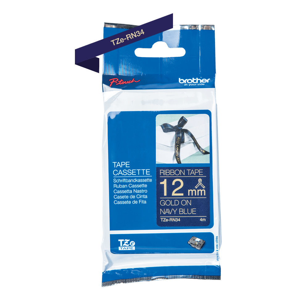 Genuine Brother TZe-RN34 Labelling Tape Ribbon– Gold on Navy Blue, 12mm wide 7