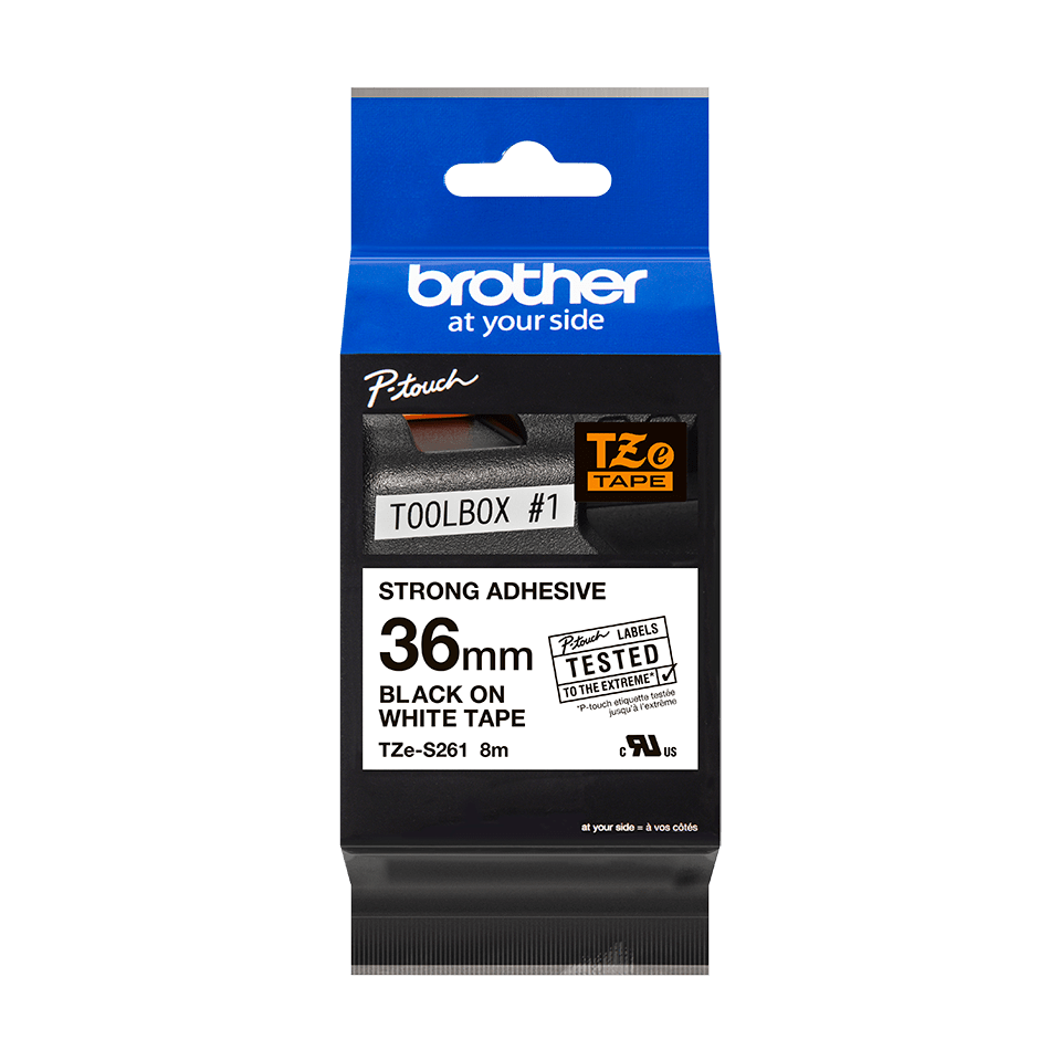 Genuine Brother TZe-S261 Labelling Tape Cassette – Black on White, 36mm wide 3